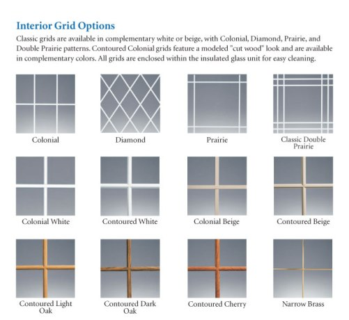 All Grid Patterns Are Available On Replacement Specialty And New Construction Window Models Plus Grids Enclosed Within The Insulated Gl